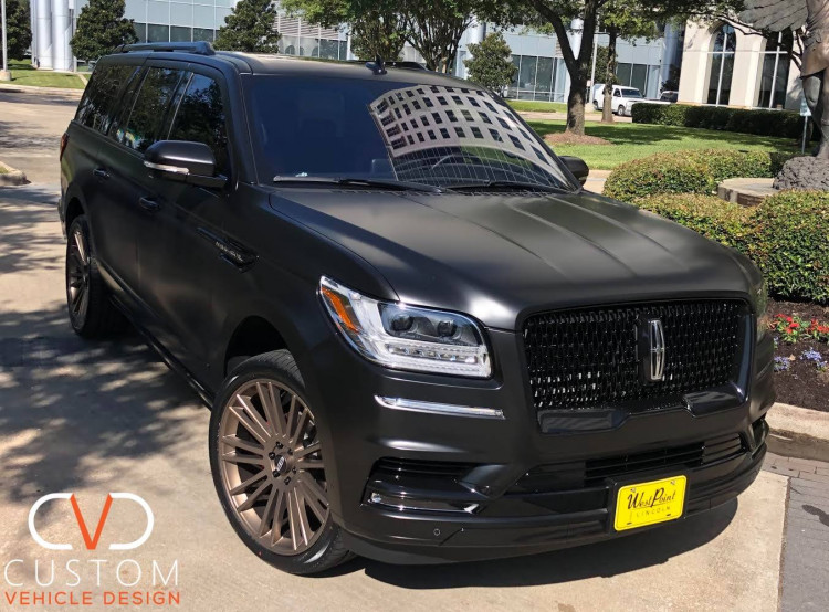 """2021 Lincoln Navigator with 24"""" Satin Bronze wheels and 24"""" Vogue Signature V Tyres"""