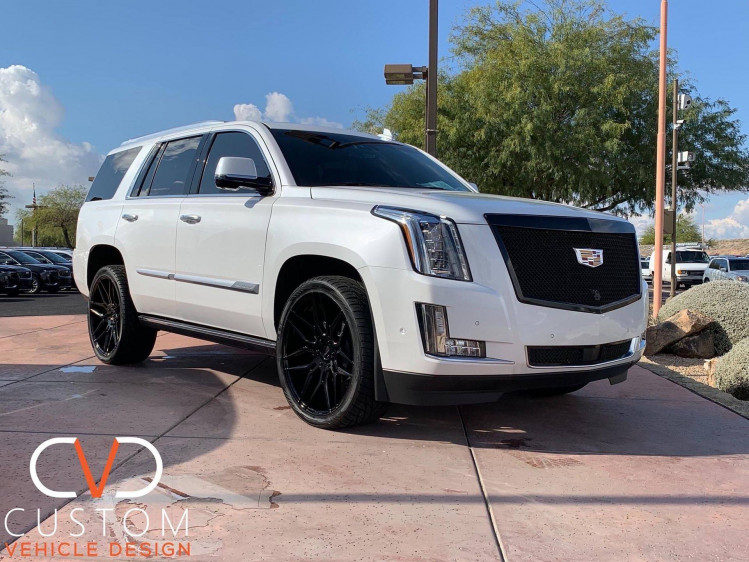 2020 Cadillac Escalade with blacked out Wheels, Grille and Tint done by CVD