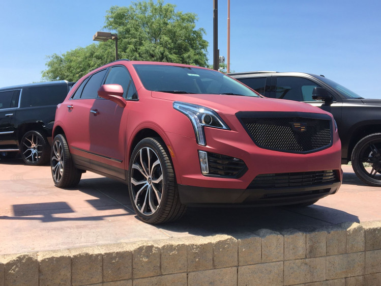 Red Matte Cadillac XT5 with black PID grille