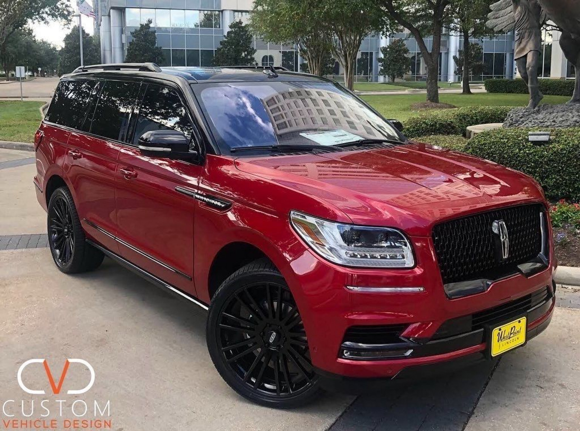 """Red Two Tone Lincoln Navigator with 24"""" Kruger wheels⠀"""