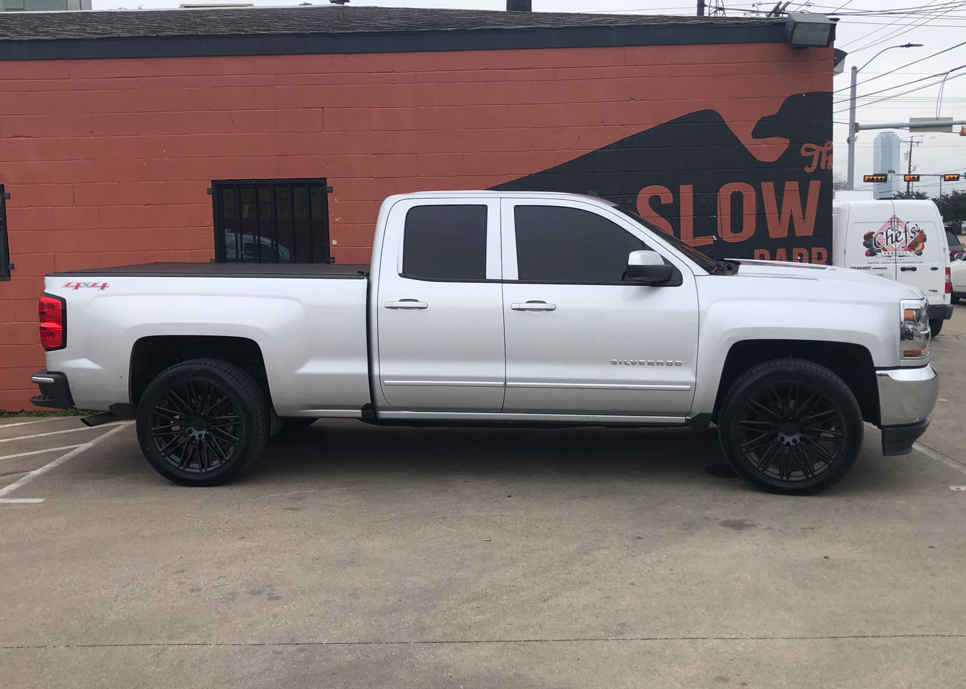 "Chevy Silverado 1500 with 22"" Zulu painted in 223 Caviar with 285/45/22 SCT"