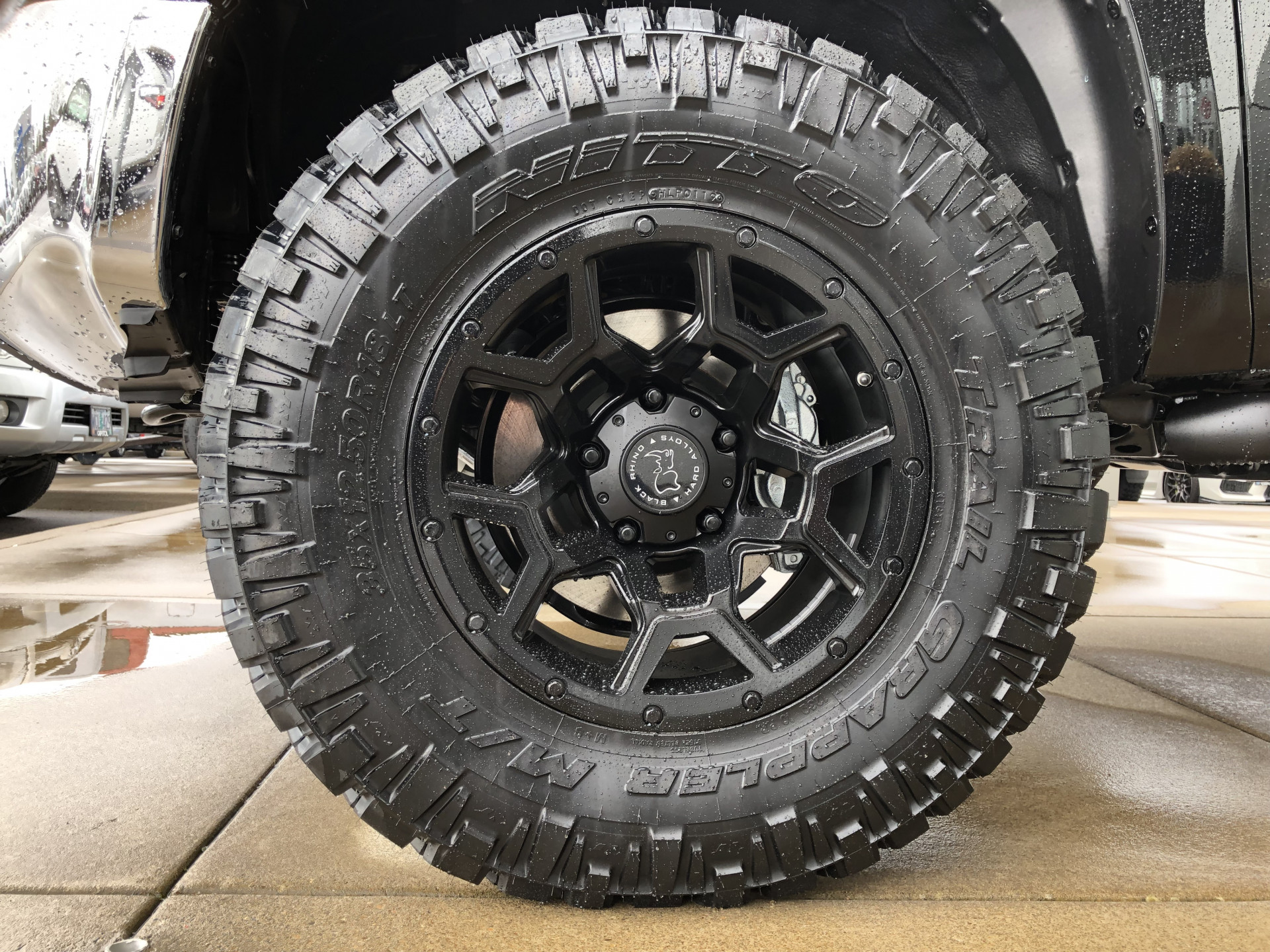 Toyota Tundra 18 inch Black Rhino Overland wheels mounted on 35x12.5x18 Nitto Trail Grappler tires