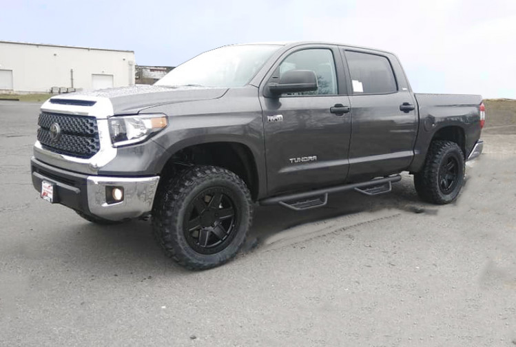 Toyota Tundra 18 inch Black Rhino Attica wheels and dealer installed tires and 3 inch leveling kit