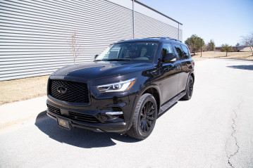 "Infiniti QX80 Black Out with 22"" Black Vogue VT388 Custom Wheels"