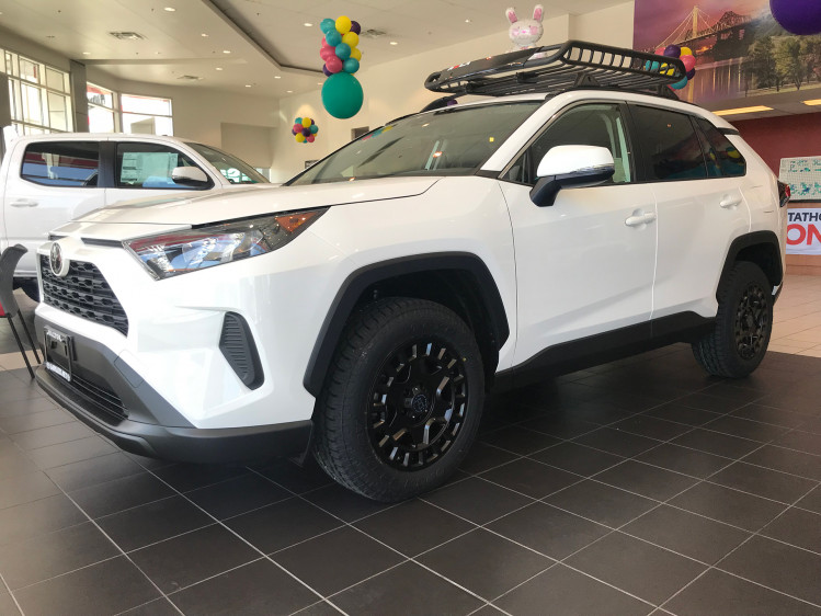 Toyota RAV4 with 17 Black Rhino York's wrapped in Toyo Open Country A/T II