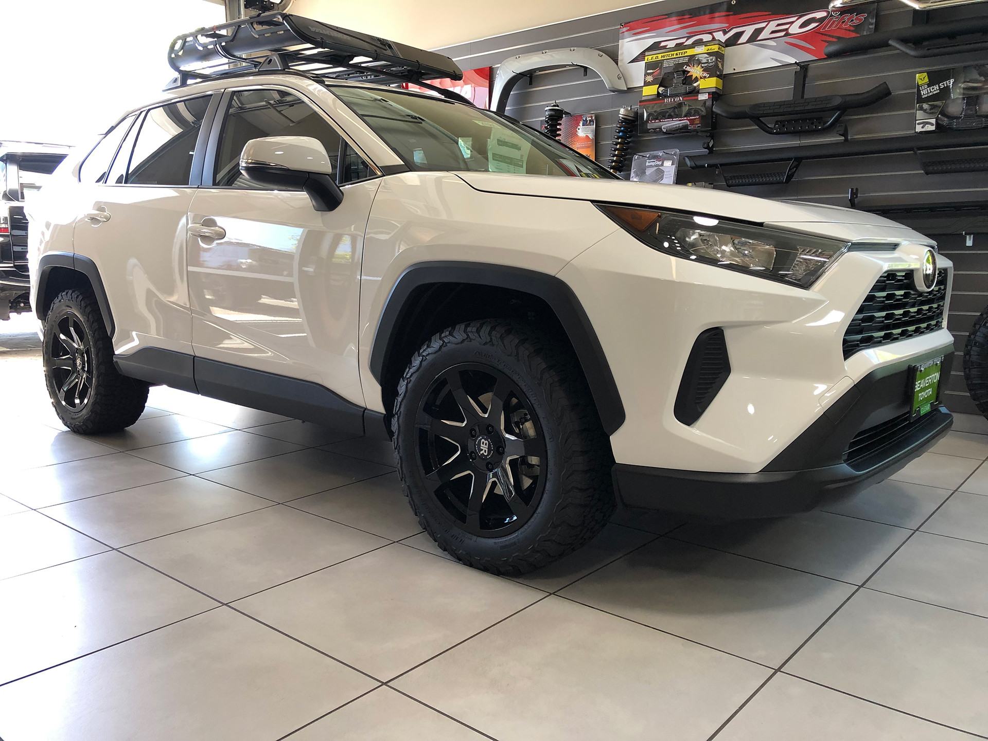 Toyota RAV4 With 18 inch black Rhino Mozambique wheels and 255/55/18 BFG all terrain tires