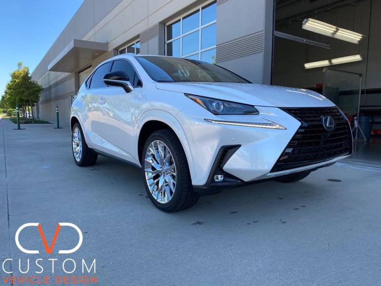 """Lexus NX300 with chrome 20"""" RX F-sport replica wheels and Vogue Tyres"""