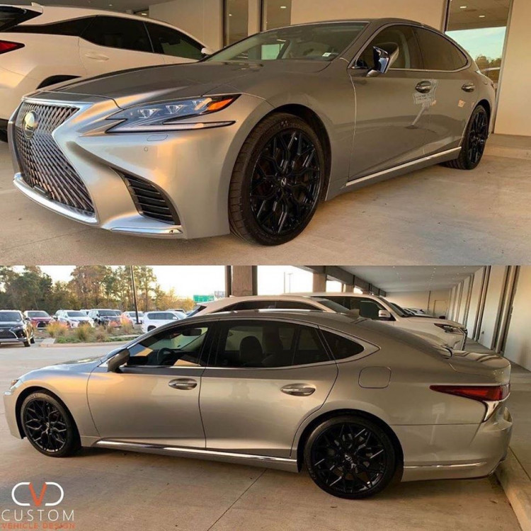 Lexus LS500 with Vossen HF2 Gloss Black wheels and Michelin Tires ⠀